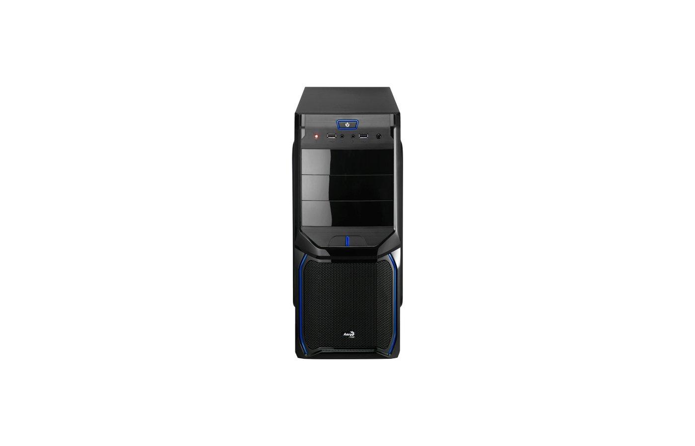 Корпус Aerocool V3X черный/голубой без БП ATX 1x80mm 2xUSB2.0 audio
