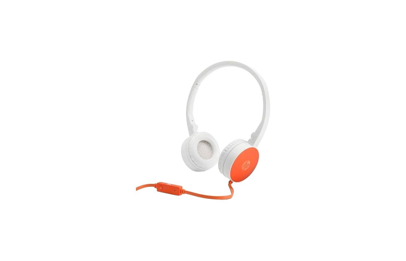 Наушники с микрофоном проводные HP H2800 1.5м оранжевый проводные (оголовье)