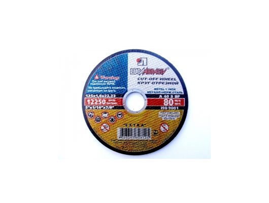 Диск отрезной абразивный Луга 125х1.6х22 40А круг отрезной по металлу