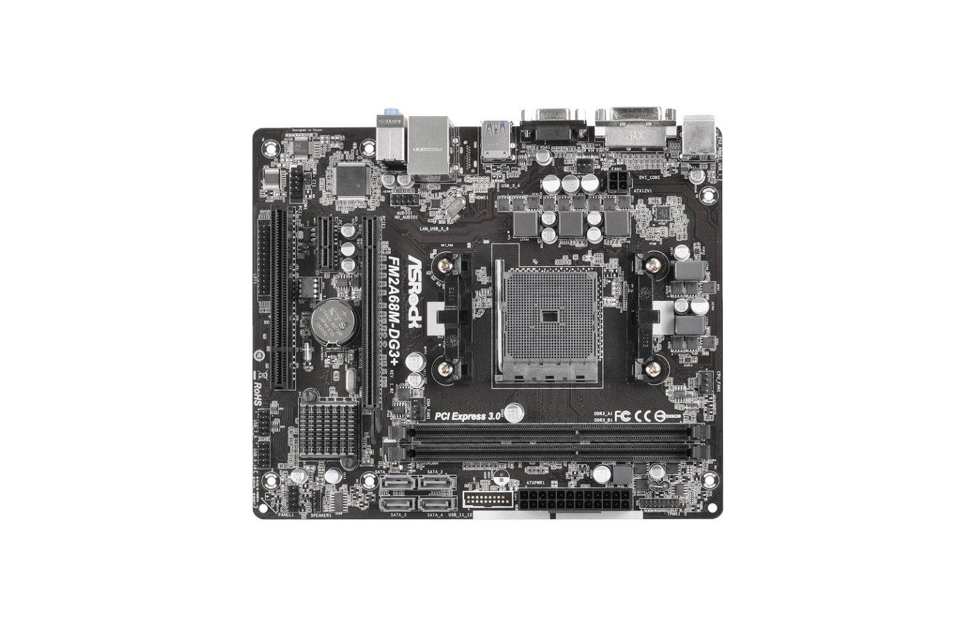 Материнская плата Asrock FM2A68M-DG3+ Soc-FM2+ AMD A68H 2xDDR3 mATX AC`97 6ch(5.1)