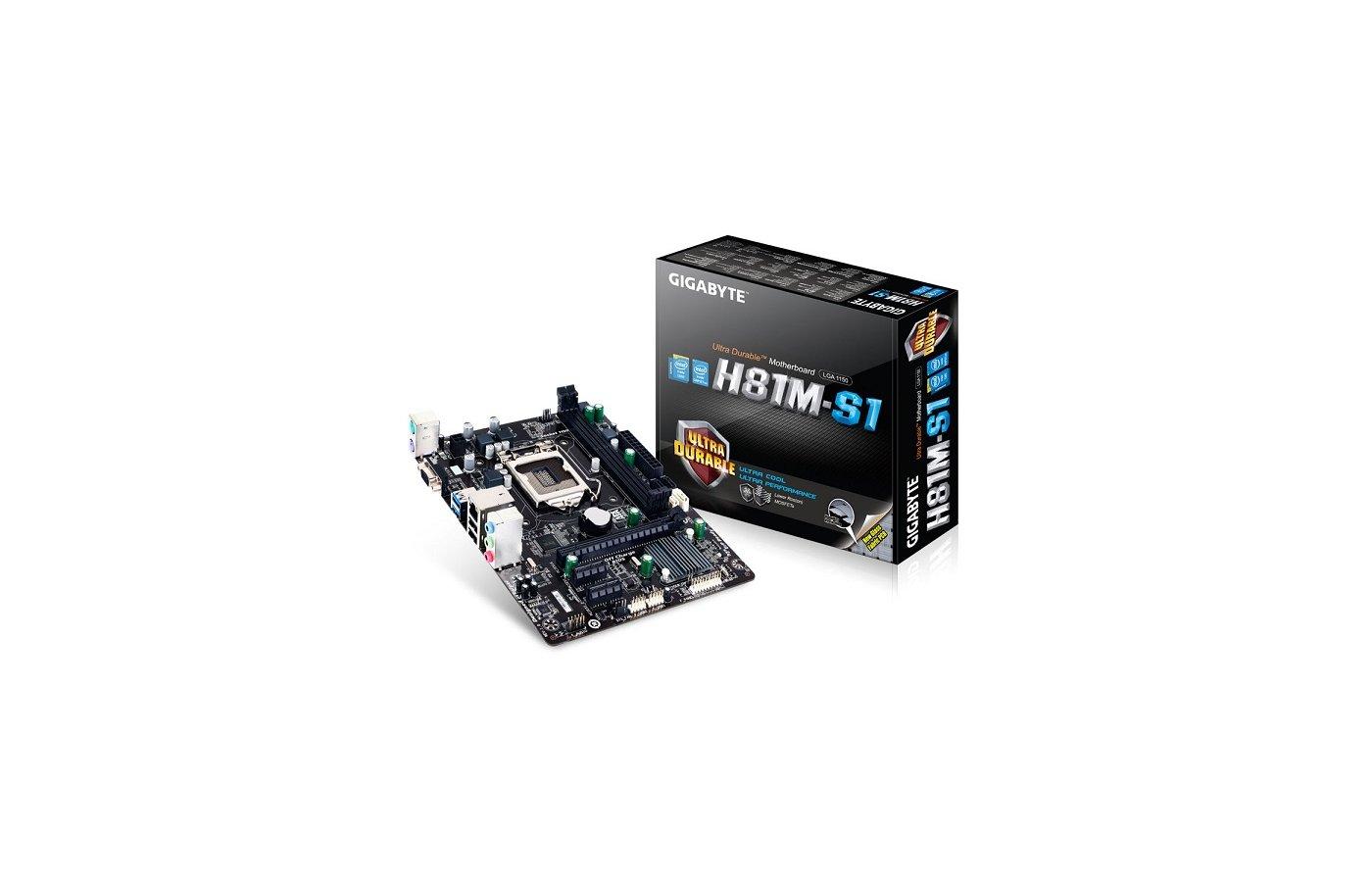 Материнская плата Gigabyte GA-H81M-S1 Soc-1150 Intel H81 2xDDR3 mATX AC`97 8ch(7.1)