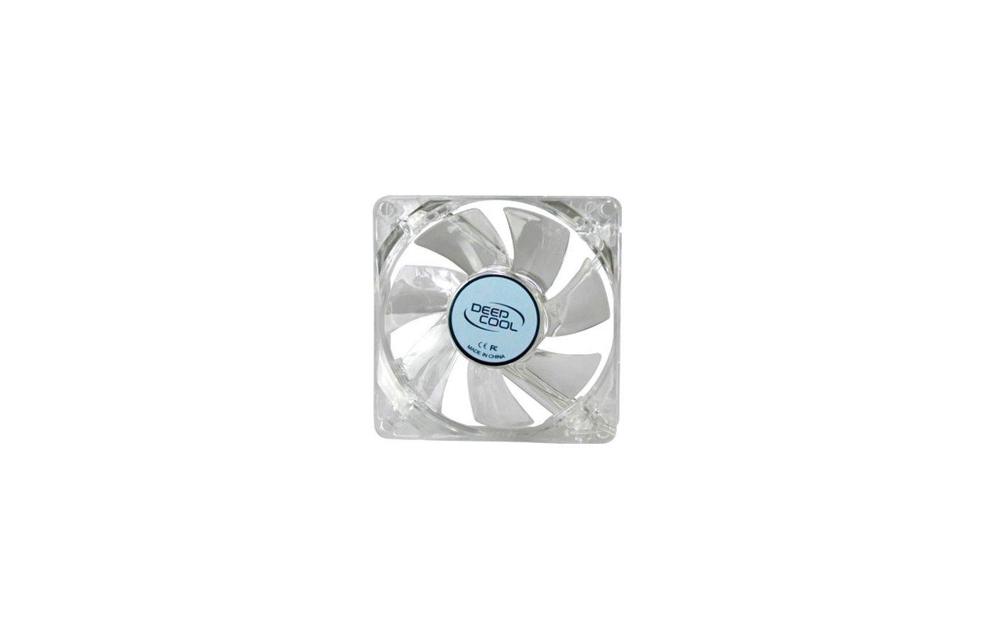 Охлаждение Deepcool XFAN 80L 80x80x25 3pin 20dB 1800rpm 60g голубой LED для корпуса