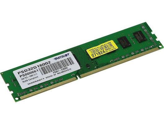 Оперативная память Patriot PSD32G16002 RTL PC3-12800 DDR3 2Gb 1600MHz CL11