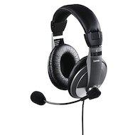 Наушники с микрофоном проводные Hama AH-100 черный/серебристый