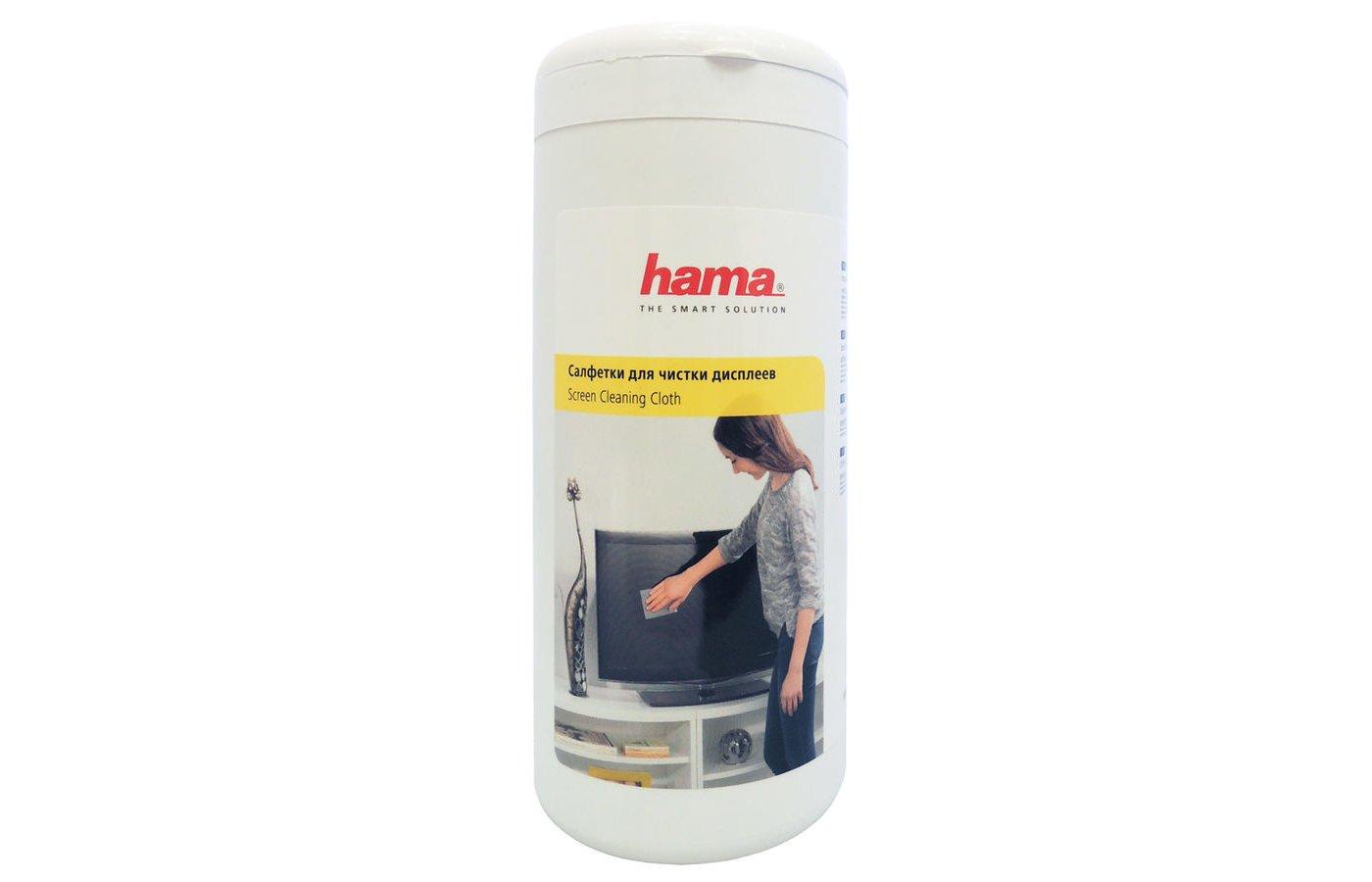 Чистящее средство Hama R1095850 салфетки для экранов мониторов/плазменных/ЖК телевизоров/ноутбуков туба 100шт влажных