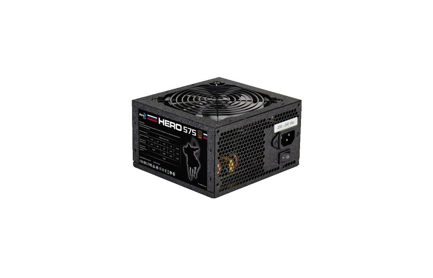 Блок питания Aerocool ATX 550W Hero 575 80+ bronze (24+4+4pin) APFC 120mm fan white LED 5xSATA RTL