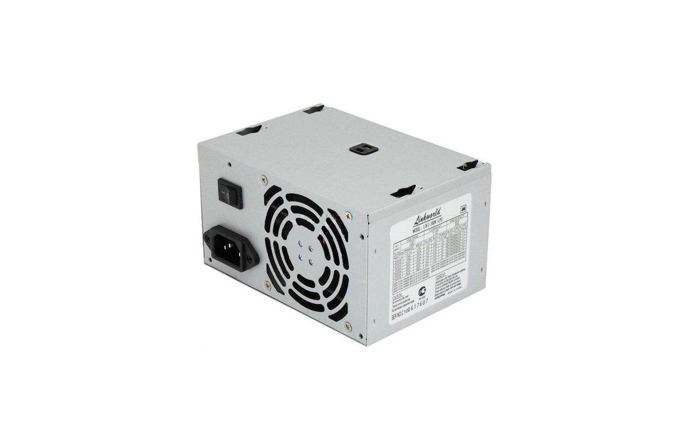 Блок питания LinkWorld ATX 350W LW2-350W (24+4pin) 80mm fan 3xSATA RTL