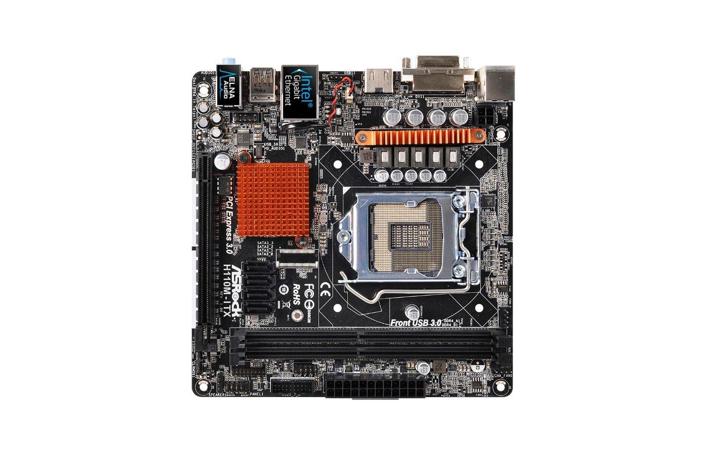 Материнская плата Asrock H110M-ITX Soc-1151 Intel H110 2xDDR4 mini-ITX AC`97 8ch(7.1)