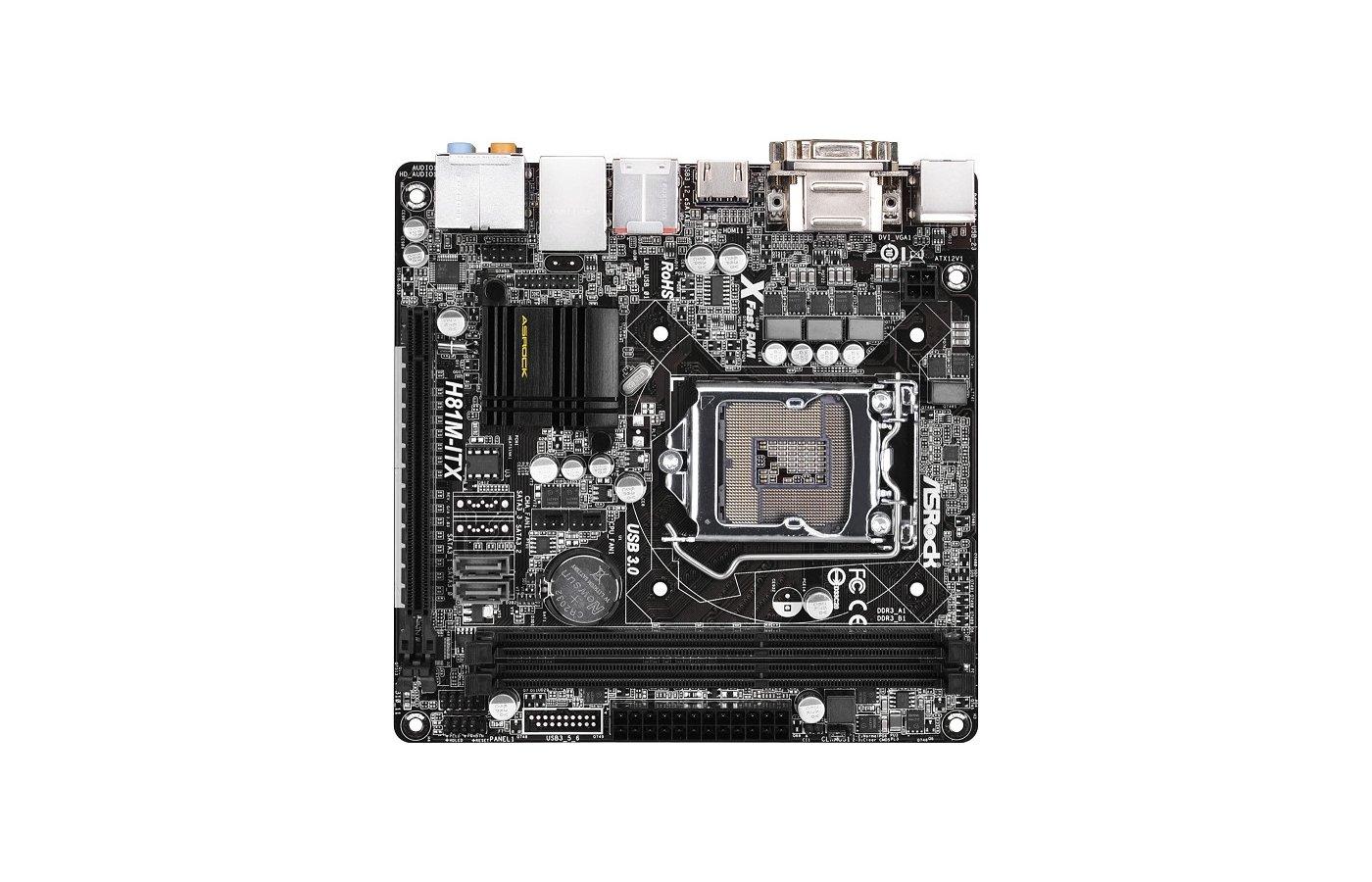 Материнская плата Asrock H81M-ITX Soc-1150 Intel H81 mini-ITX AC`97 8ch(7.1)