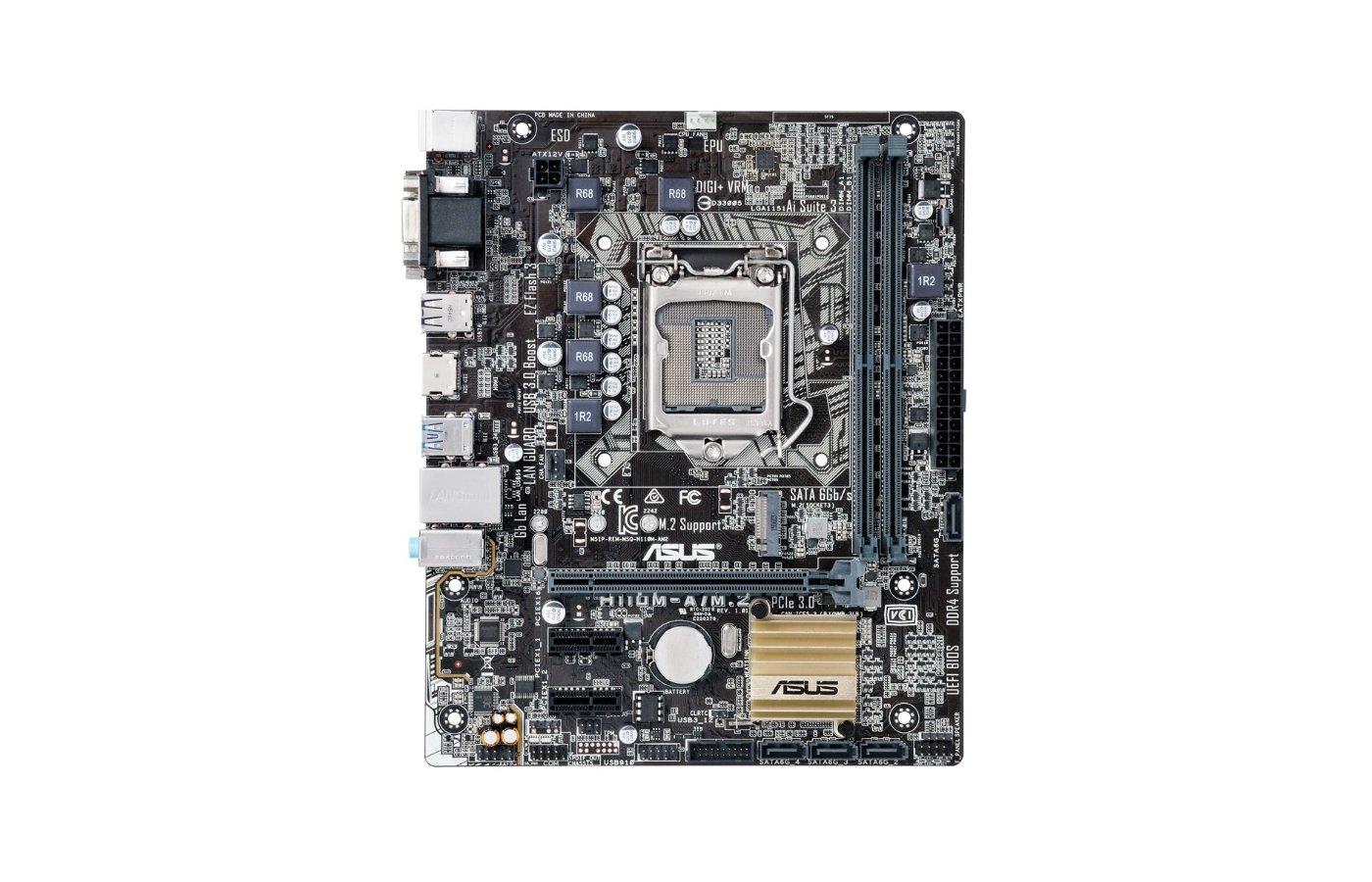 Материнская плата Asus H110M-A/M.2 Soc-1151 Intel H110 2xDDR4 mATX AC`97 8ch(7.1)