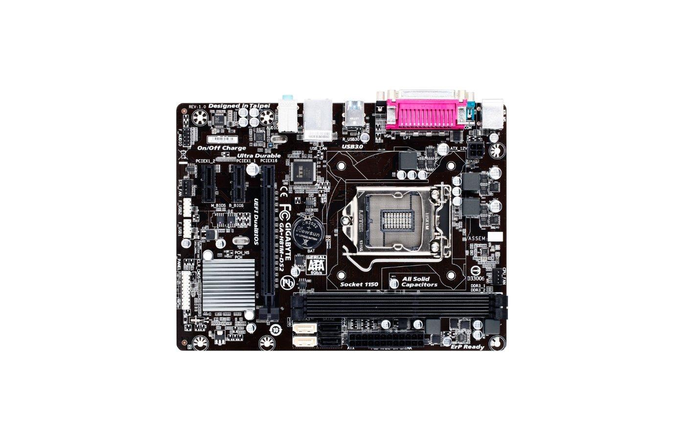 Материнская плата Gigabyte GA-H81M-DS2 Soc-1150 Intel H81 2xDDR3 mATX AC`97 8ch(7.1)