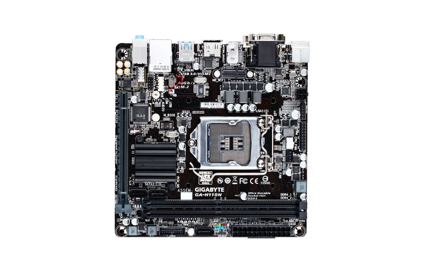 Материнская плата Gigabyte GA-H110N Soc-1151 Intel H110 2xDDR4 mini-ITX AC`97 8ch(7.1)