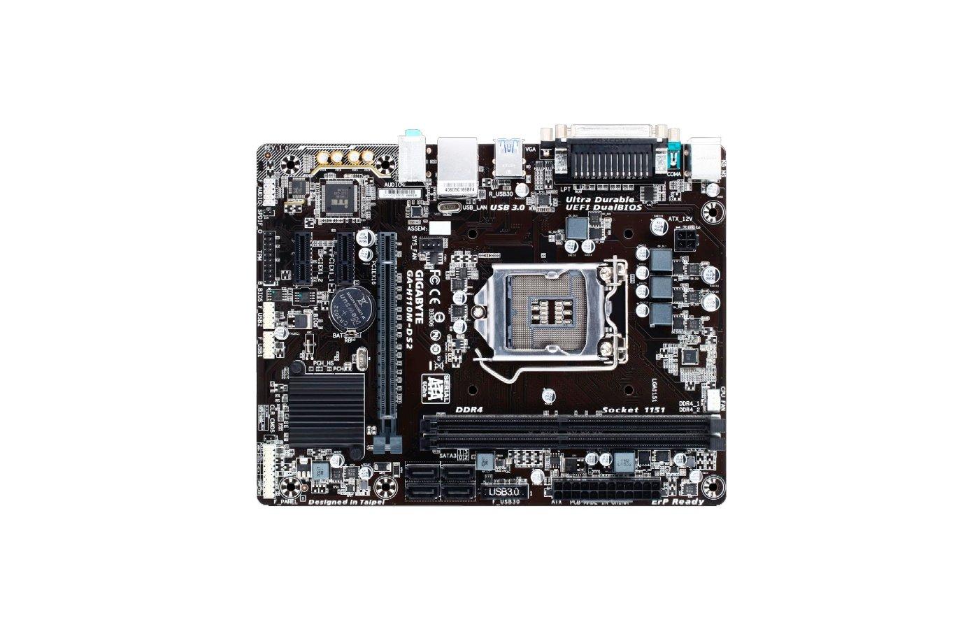 Материнская плата Gigabyte GA-H110M-DS2 Soc-1151 Intel H110 2xDDR4 mATX AC`97 8ch(7.1)