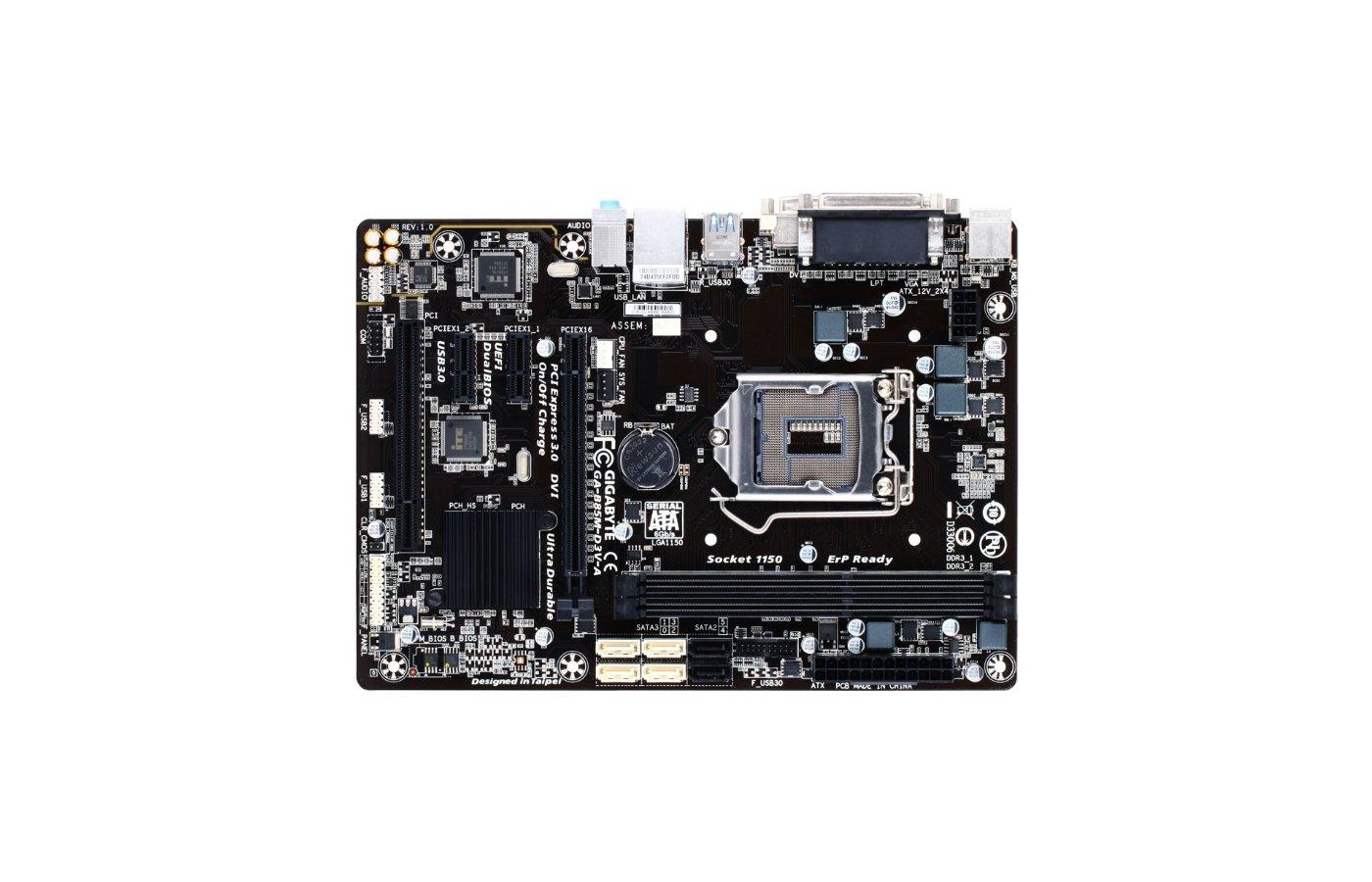 Материнская плата Gigabyte GA-B85M-D3V-A Soc-1150 Intel B85 2xDDR3 mATX AC`97 8ch(7.1)