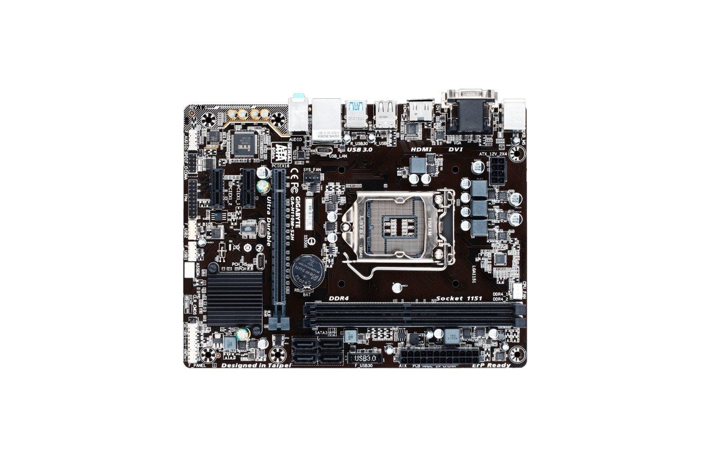 Материнская плата Gigabyte GA-H110M-S2H Soc-1151 Intel H110 2xDDR4 mATX AC`97 8ch(7.1)