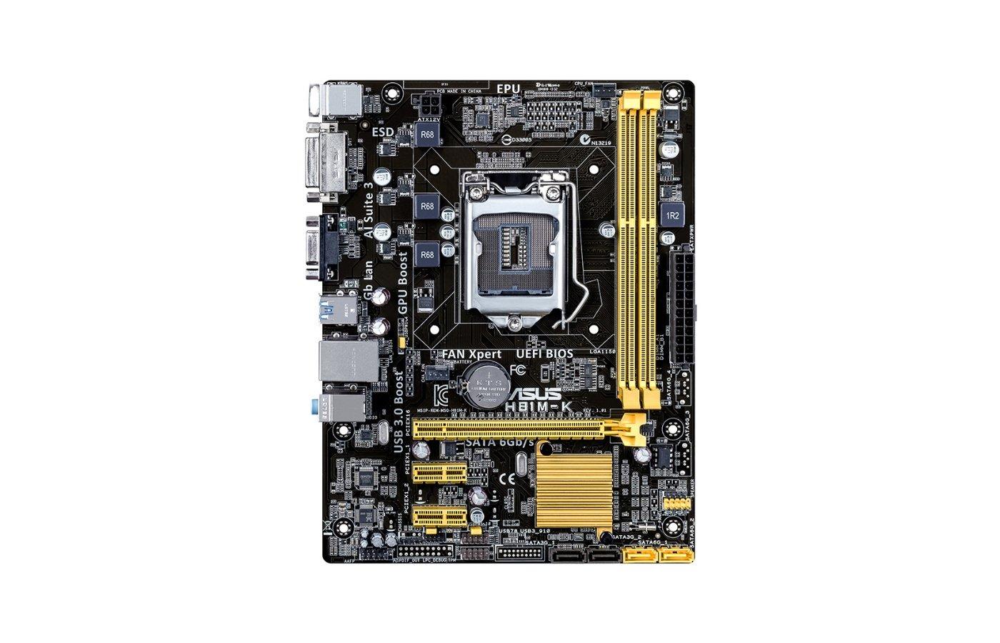 Материнская плата Asus H81M-K Soc-1150 Intel H81 2xDDR3 mATX AC`97 8ch(7.1)
