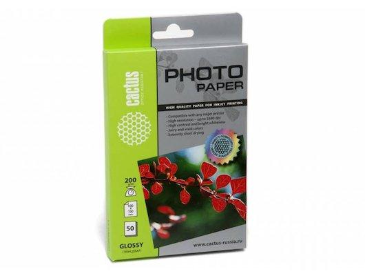 Фотобумага Cactus CS-GA620050E 10x15/200г/м2/50л./белый глянцевое для струйной печати