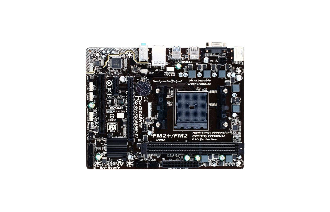 Материнская плата Gigabyte GA-F2A68HM-S1 Soc-FM2+ AMD A68H 2xDDR3 mATX AC`97 8ch(7.1)