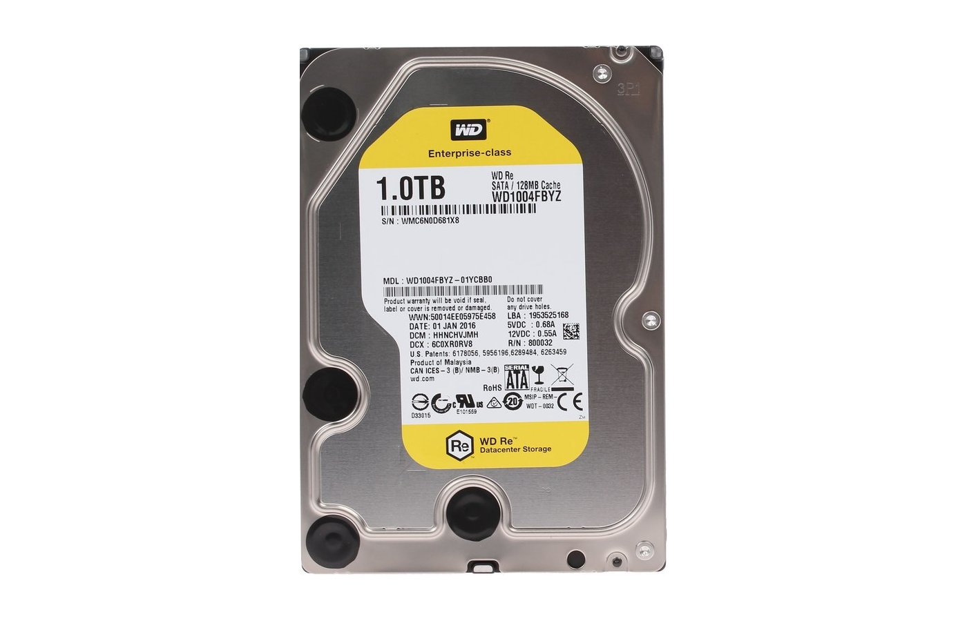 Жесткий диск Western Digital Original SATA-III 1Tb WD1004FBYZ RE (7200rpm) 128Mb 3.5""