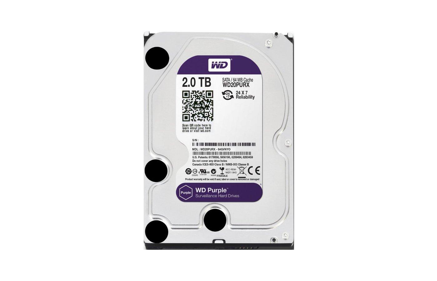"Жесткий диск WD Original SATA-III 2Tb WD20PURX Purple (5400rpm) 64Mb 3.5"""