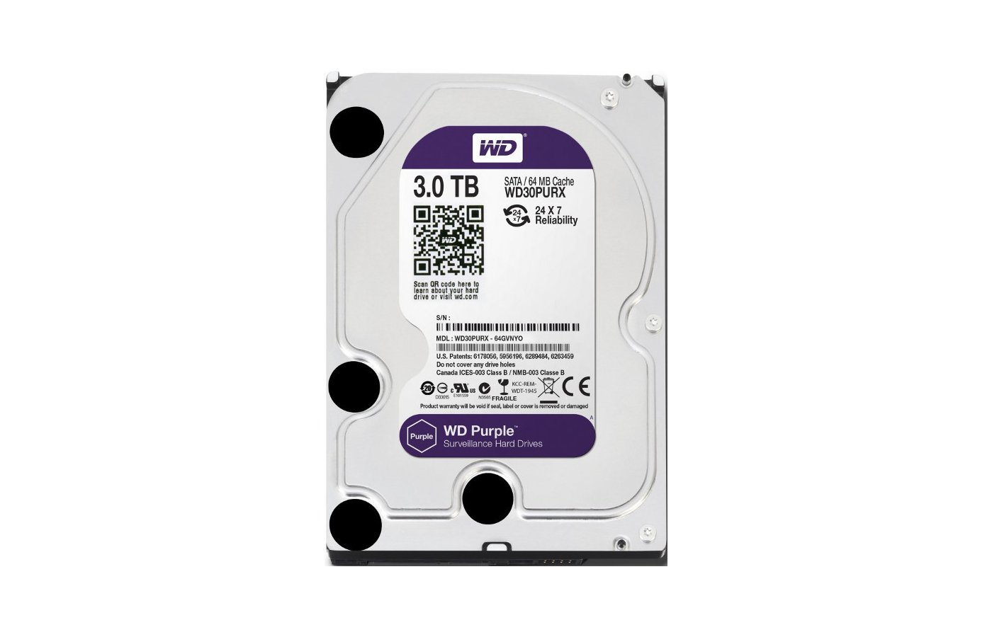 Жесткий диск WD Original SATA-III 3Tb WD30PURX Purple (5400rpm) 64Mb 3.5""