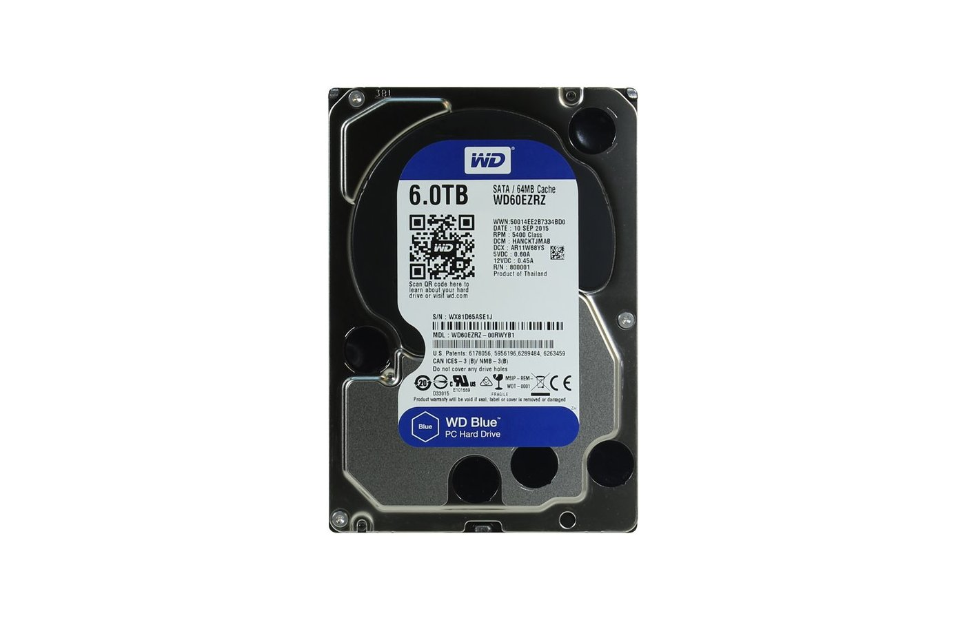 "Жесткий диск WD Original SATA-III 6Tb WD60EZRZ Blue (5400rpm) 64Mb 3.5"""