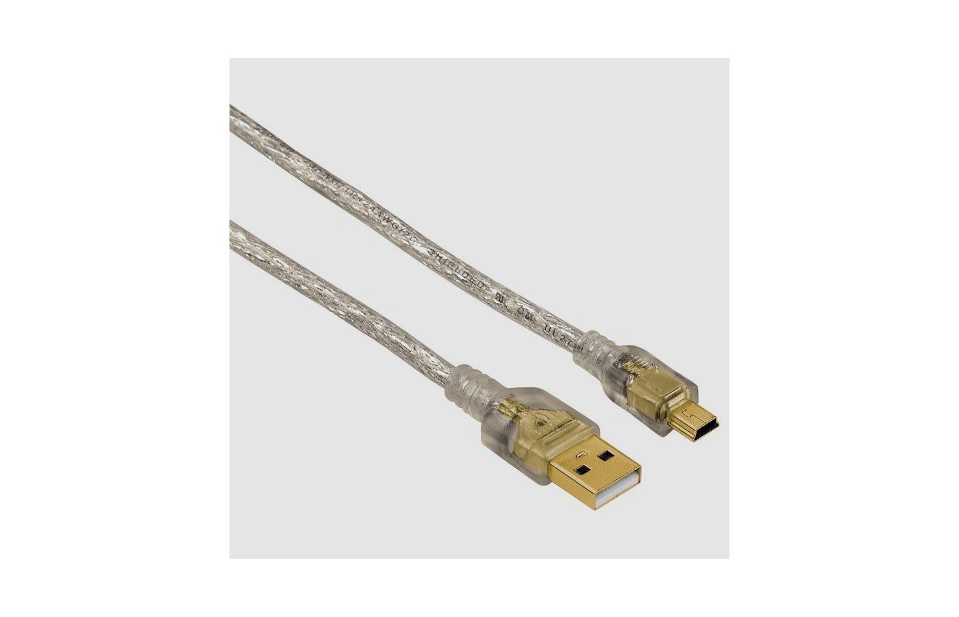 USB Кабель Hama H-41534 USB2.0 A(m) - miniUSB B (m) 3м 3зв прозрачный