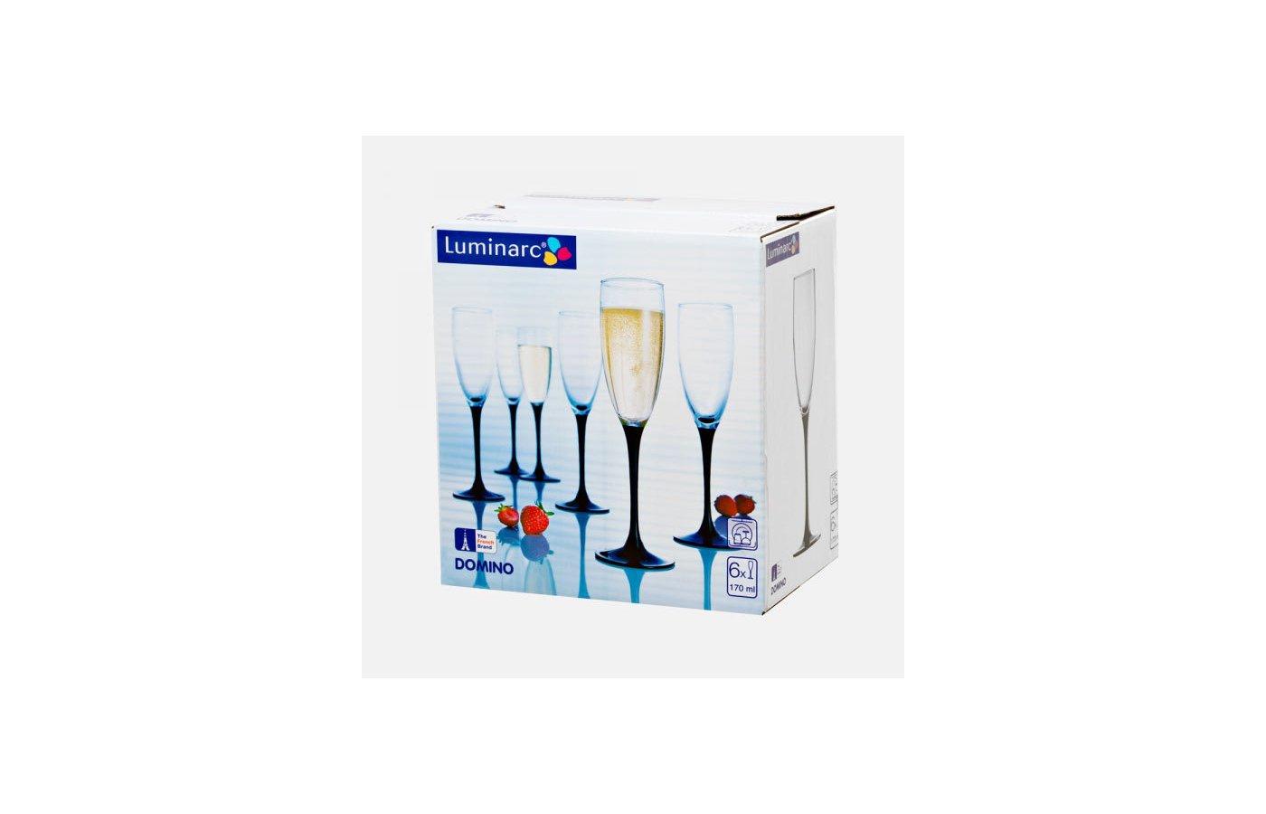 Посуда для напитков Фужер для шампанского 6шт 170мл Домино Н8167