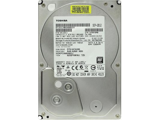 "Жесткий диск Toshiba SATA-III 2Tb DT01ACA200 (7200rpm) 64Mb 3.5"""