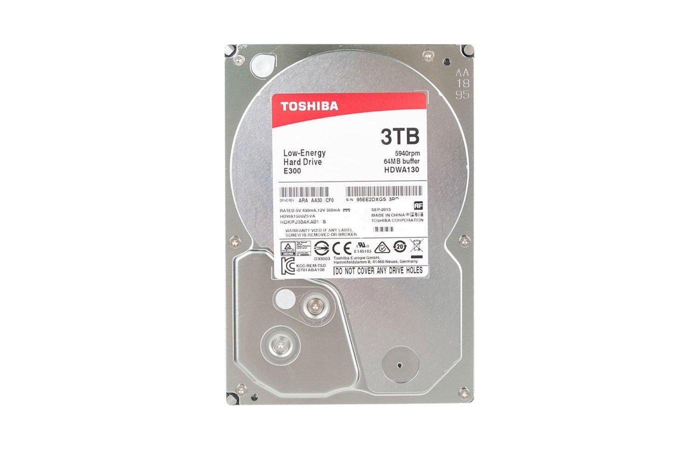 "Жесткий диск Toshiba SATA-III 3Tb HDWA130UZSVA E300 (5940rpm) 64Mb 3.5"""