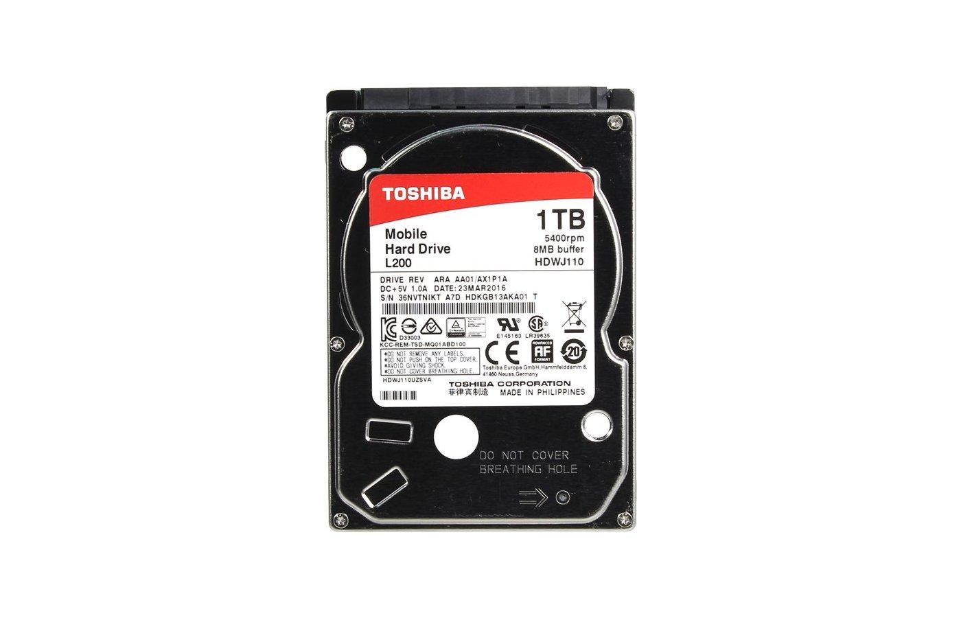 """Жесткий диск Toshiba SATA-II 1Tb HDWJ110EZSTA L200 (5400rpm) 8Mb 2.5"""" Rtl"""