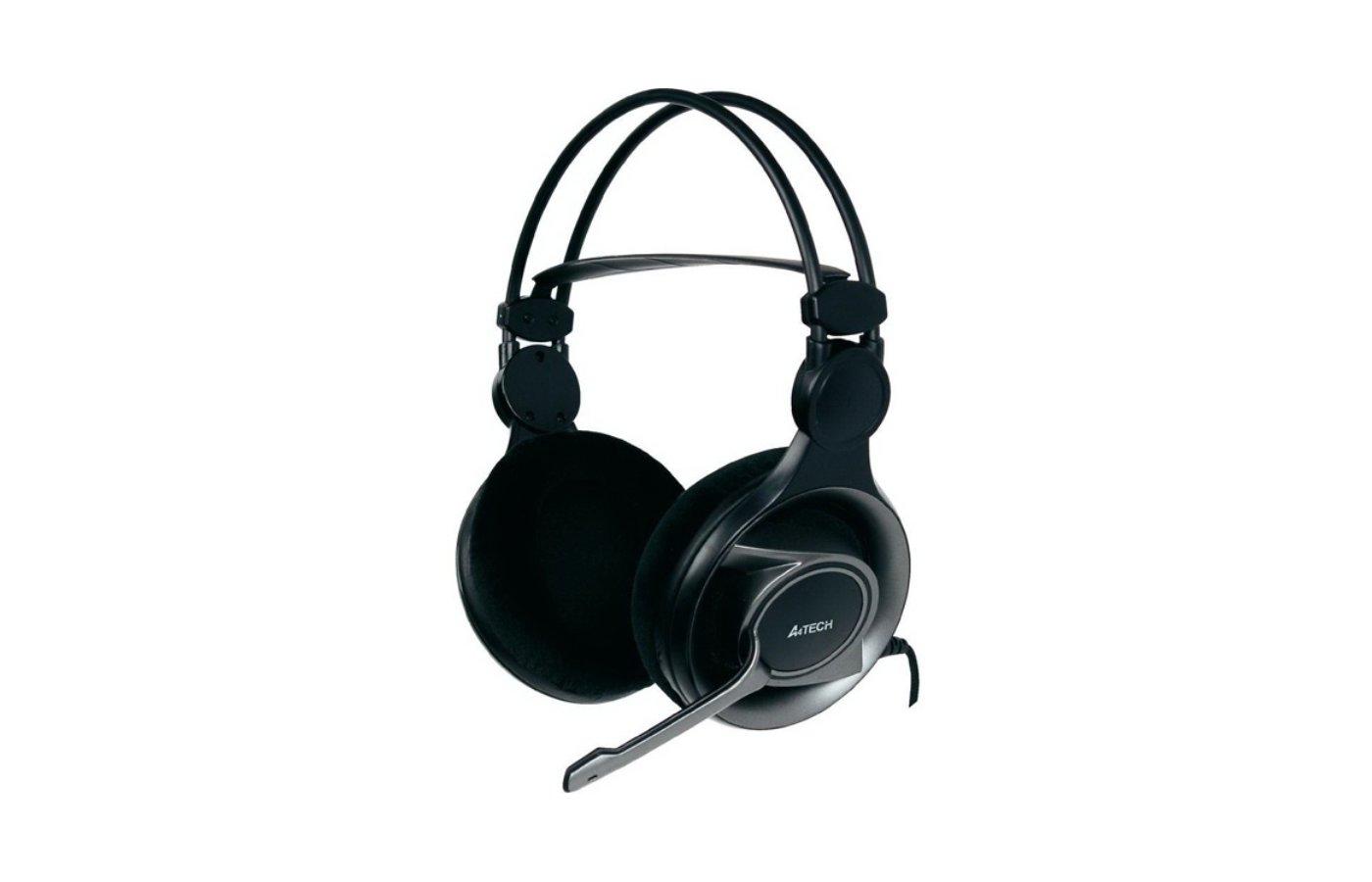 Наушники с микрофоном проводные A4Tech HS-100 черный 2