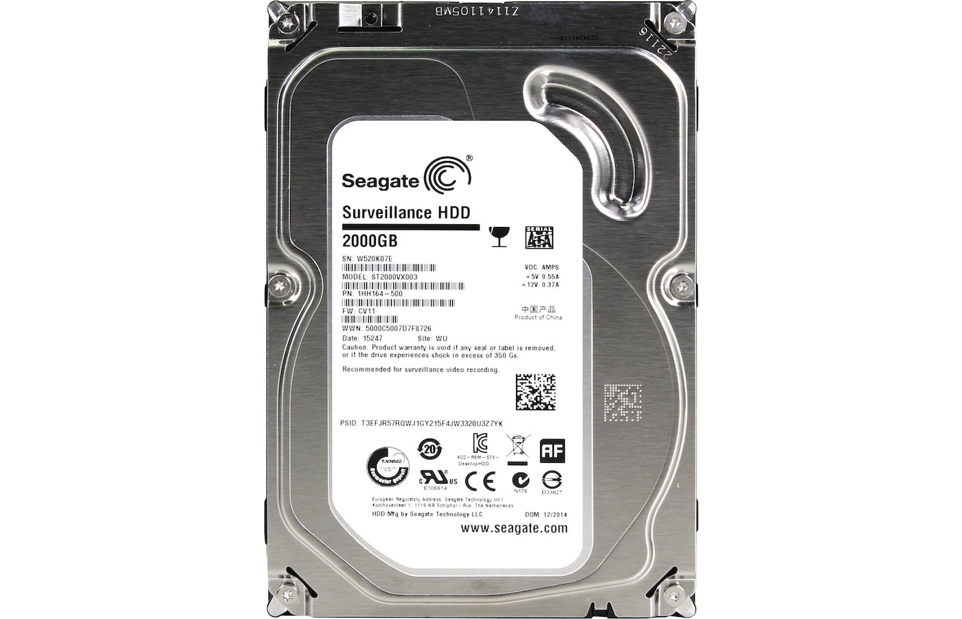 Жесткий диск Seagate SATA-III 2Tb ST2000VX003 Surveillance 64Mb 3.5