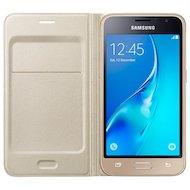 Чехол Samsung Flip Wallet для Galaxy J1 (2016) SM-J120 золотой (EF-WJ120PFEGRU)