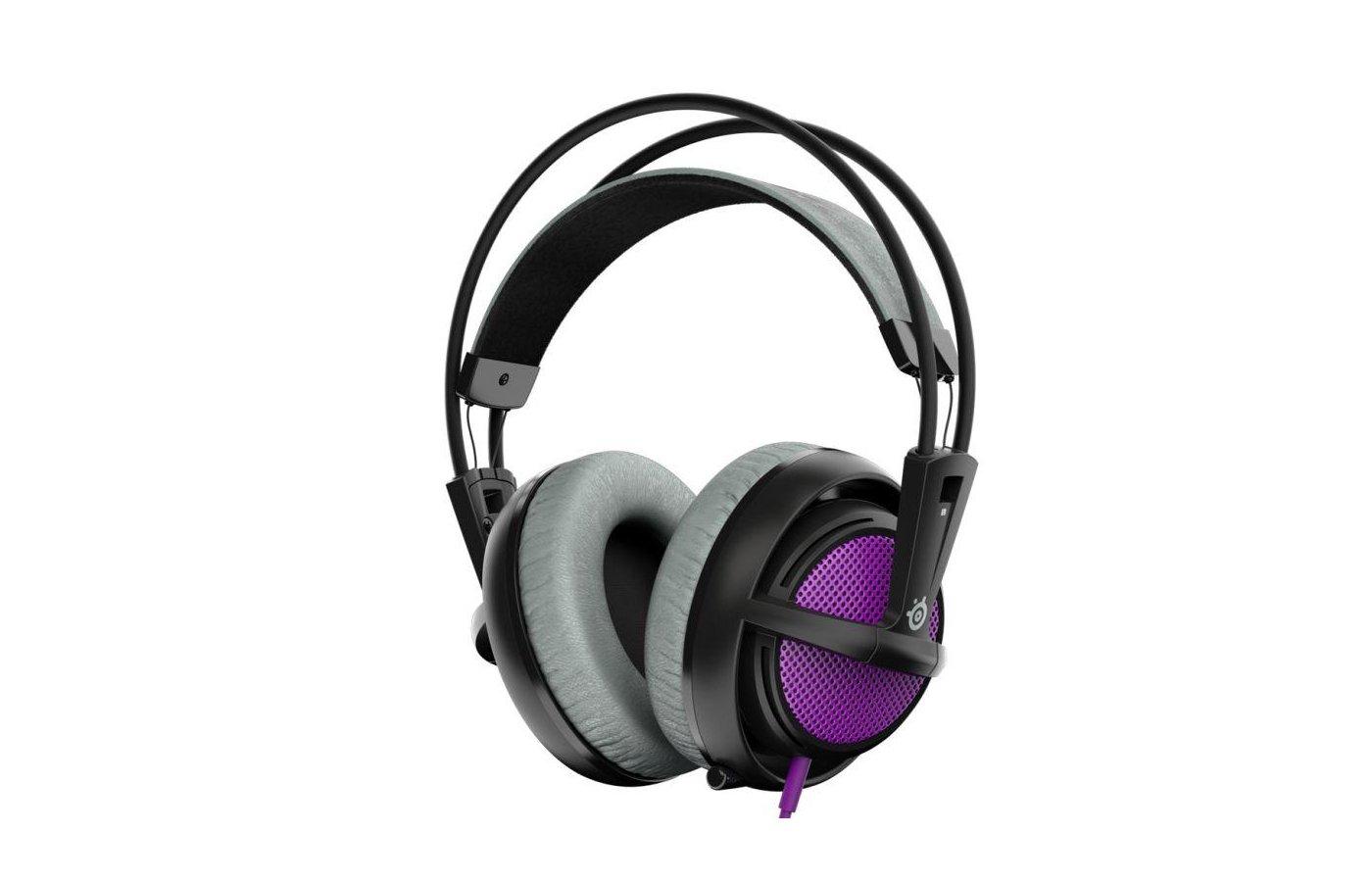 Игровые наушники проводные Steelseries Siberia 200 Sakura Purple пурпурный/черный (1.8м) мониторы (оголовье)