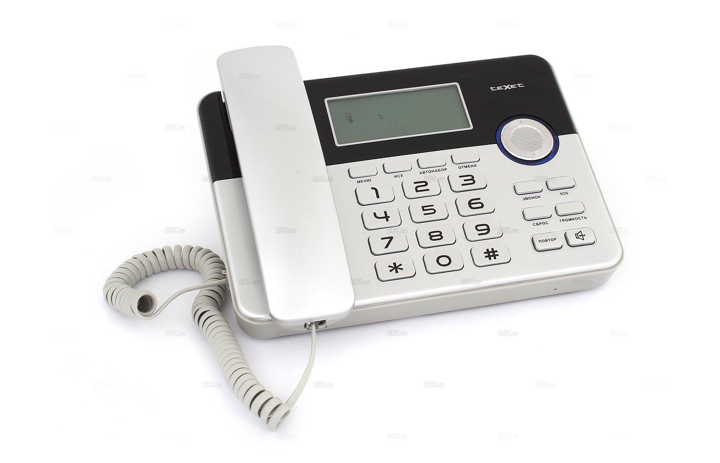 Проводной телефон TeXet TX-259 черный/серебристый
