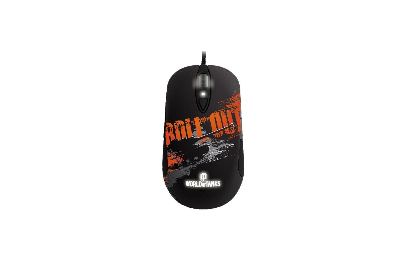 Мышь проводная Steelseries Sensei Raw World Of Tanks Мышь+коврик черный/серый/оранжевый