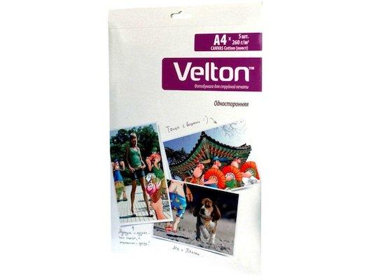 Фотобумага Velton A4 5л 260г холст Canvas Cotton