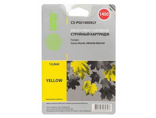 Картридж струйный Cactus CS-PGI1400XLY желтый для Canon MB2050/MB2350/MB2040/MB2340 (11.5мл)