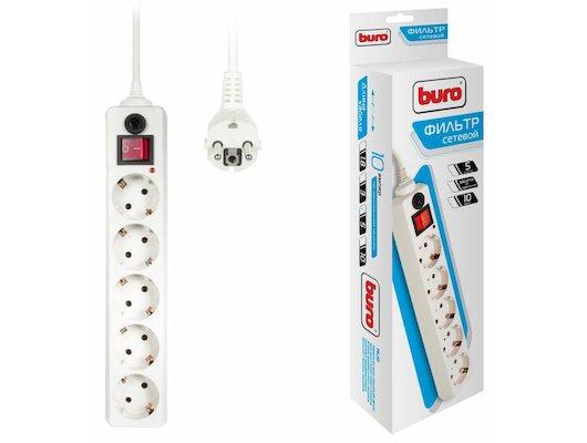 Сетевой фильтр BURO 500SH-5-W 5роз./5м. белый