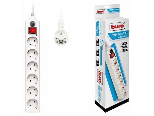 Сетевой фильтр BURO 600SH-1.8-W 6роз./1.8м. белый