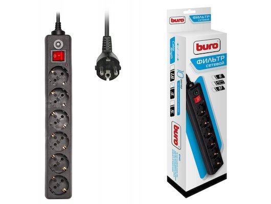 Сетевой фильтр BURO 600SH-3-B 6роз./3м. черный