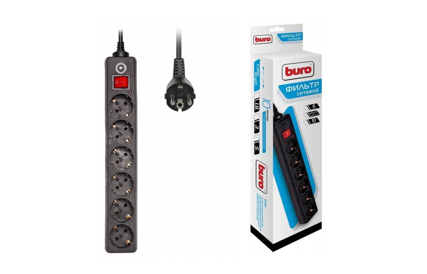 Сетевой фильтр BURO 600SH-5-B 6роз./5м. черный
