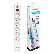 Фото Сетевой фильтр BURO BU-SP1.8 USB/W 6роз./1.8м. белый