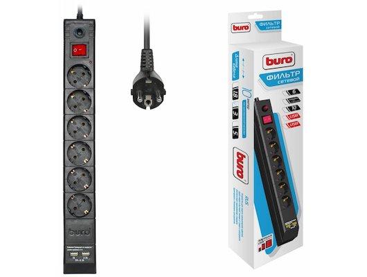 Сетевой фильтр BURO BU-SP3-USB-2A-B 6роз./3м. черный