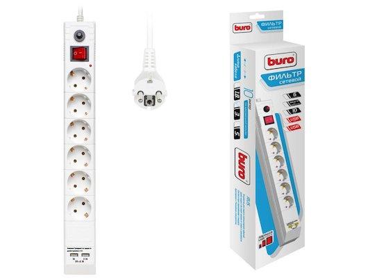 Сетевой фильтр BURO BU-SP3-USB-2A-W 6роз./3м. белый