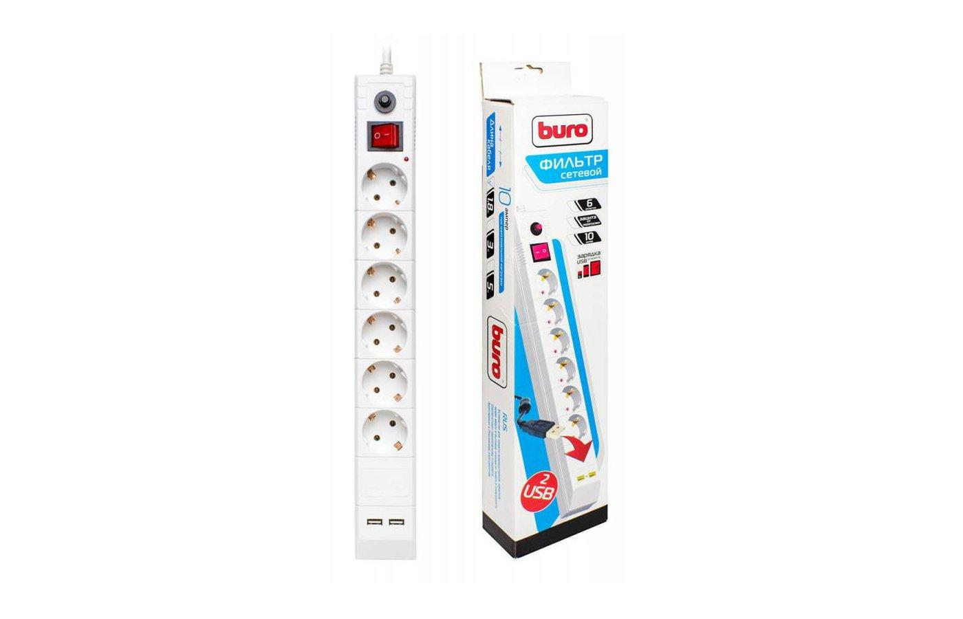 Сетевой фильтр BURO BU-SP1.8 USB/W 6роз./1.8м. белый