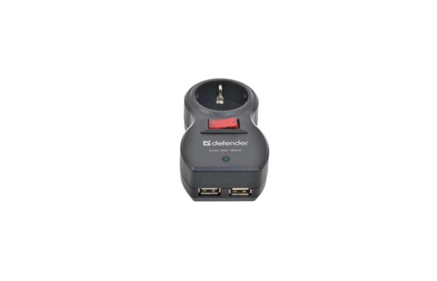Сетевой фильтр Defender Voyage 100 1 розетка 2 USB Black