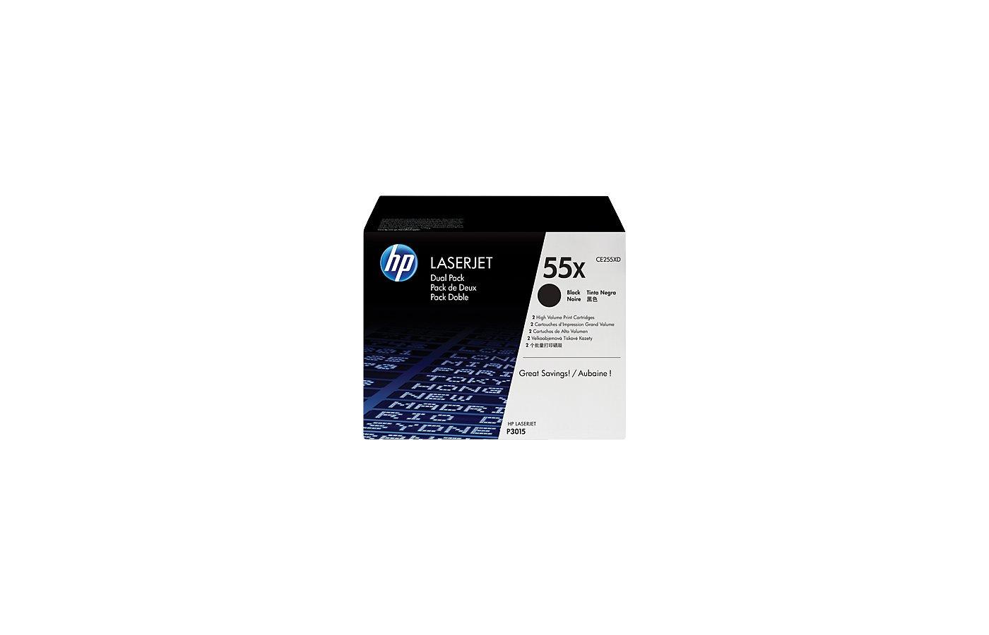 Картридж лазерный HP 55X CE255XD черный x2уп. для HP LJ P3015d/P3015dn/P3015n/P3015x (25000стр.)