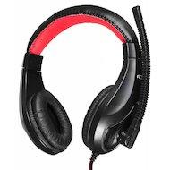 Наушники с микрофоном проводные Oklick HS-L100 черный/красный 2м (NO-530)